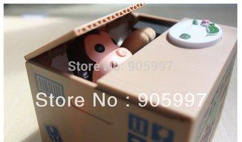 Automated monkey steal coin piggy bank,kitty saving money box,bank saver, kids children sweetheart birthday gift,novelty toys