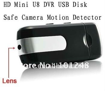 free shipping HD Mini U8 DVR USB Disk Safe Camera Motion Detector AVP016A 720*480  30fps