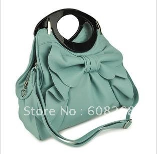 Free shipping Fold edge of handbags bearing leaves bow Mobile Messenger bag / women bags(China (Mainland))