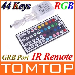 DC 12V 3*2 A 44 Keys LED Controller IR Remote controller+GRB Port for RGB LED Strip Light Free Shipping(China (Mainland))
