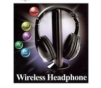 good quality+Free Shipping 2pcs/lot  Brand New Wireless Headset Headphone Earphone for TV CD MP3 PC FM