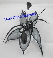 Promotion free shipping 6pcs/lot  handmade high quality feather sinamay hair comb fascinator black color