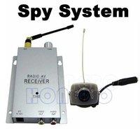 Wireless Mini pinhole/micro CCTV security surveillance A/V audio 6 IR LED RC Camera 1.2Ghz receiver kit NTSC PAL
