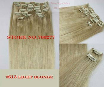 "Free shipping,160g,Hair extensions 10pcs set,22""-28"", #613 Light blonde,full around head human hair clip in on extensions"