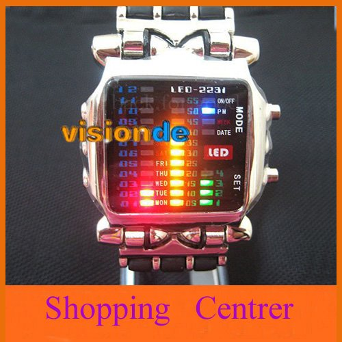 New LED Light Fashion Dot Matrix Digital Mens WATCH NR freeship