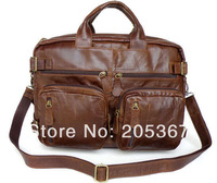 7061B-1 Cowboy Vintage Leather Men's Briefcase Laptop Dispatch Travel Backpack Tote Bag Versatiled Style Free Shipping