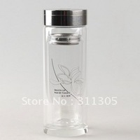500ml Fuguang double wall cup with china picture,0.5L water glass with Tea Infuser.