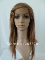Light Auburn&Blonde human hair wig full lace wig silk straight 16inch #27/30