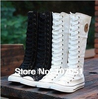 2014 Free shipping hot sale fashion Gril's Canvas Boots,Knee High Canvas Sneakers  women boots,size 35-43White/Black/red