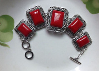 Retailing Min.order is $15 (mix order) Red turquoise hot sell tibetan silver red green turquoise big bracelets