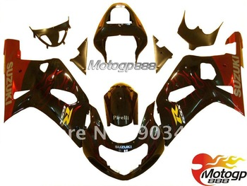 RED flame in Black fairing kit for Suzuki Gsxr 600 750 01-03 K2 K1 GSX R600 R750 2001 2002 2003 Fairings Bodywork ABS S16