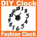 Free Shipping Fashion alarm DIY clock (long pointer) , mute electronic decorative wall quartz clocks