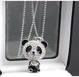 N012 Full of crystals panda pendant necklaces for women jewelry wholesale charm  B3.7