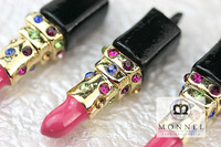 H366a Hot Sale 3pcs Cute Crystal Hot Pink Lipstick Charms Pendants Latest New Design