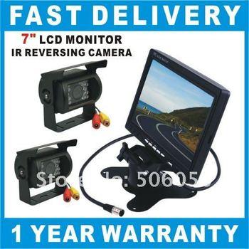 "2 x IR Reverse Camera + 7"" LCD Monitor Car Rear View Kit Free 2 x 10M Cable Car Rear View Kit Car camera Reversing Camera"