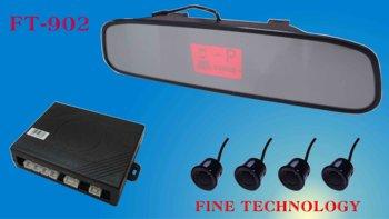 free shipping  English voice alart 4 waterproof ultrasonic auto detect sensor color rear view mirror LCD car backup sensor FT902