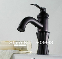 Luxury Free Shipping Deck Mounted Oil Rubbed Kitchen Basin Sink Faucets Black Mixer Taps New b8457A