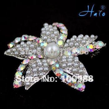 Free Shipping 6pcs/lot P168-423 Vintage Silver Tone  Faux Pearl Bead Crystal AB Rhinestone Starfish Brooch