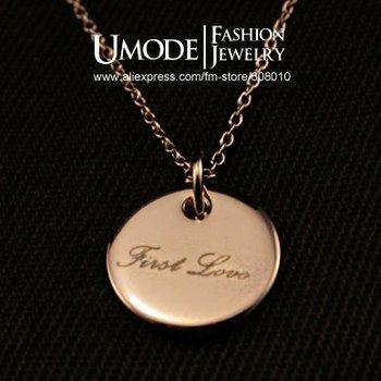 Umode 18 К розового золота первая любовь выгравированы медальон ожерелья и подвески JN0012A
