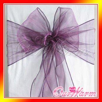 "Free Shipping 100 pcs Purple / Violet / Aubergine 7""x108"" Organza Chair Sash Bow Wedding Banquet Supply Decorations Colors Hot"