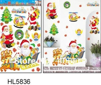 Santa Claus HL5836 Merry Christmas Decoration for Home Festival Tree Wall Stickers Large 100% Quality Guaranteed Free Shipping