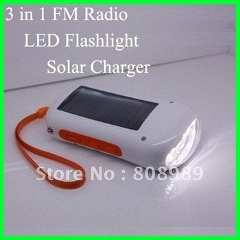 Wholesale! Solar Charger Radio Torch Solar cell phone Charger Solar Flashlight Solar FM radio 3 in 1 5pcs/lot  Free Shipping