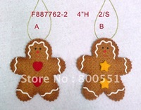 "4""H felt gingerbread man ornament, free EMS shipping, Christmas ornament that warms your heart!"