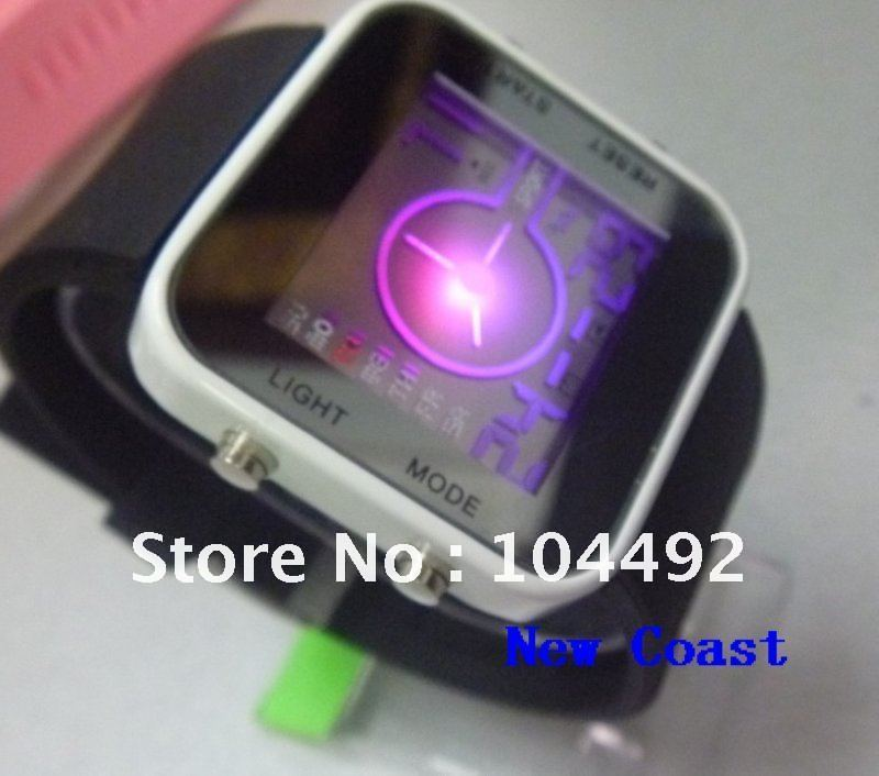 Freeshipping Square silicone LED watch 12 colors high quality led electronic movement big discount(China (Mainland))