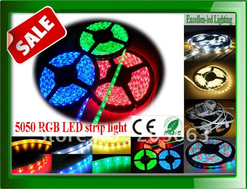RGB SMD5050 led strip light 5M/roll 300 60leds IP65 Waterproof LED RGB flexible lamps lighting(China (Mainland))