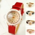 free shipping 6 Colors Gogoey red leather Shinning crystal women watch wrist quartz watch KZ058