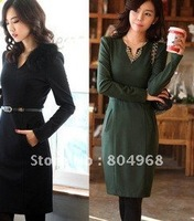 Women's long sleeve v neck dress  for self-cultivation business wear with Free shipping