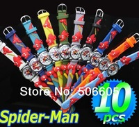 Free Shipping Wholesale  and retail Spider-man Watch,3D Cartoon 10pcs/lot  &Promotion children c6-+888