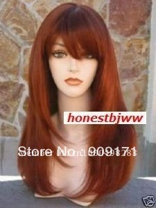 Wig Long Straight Red Auburn 44