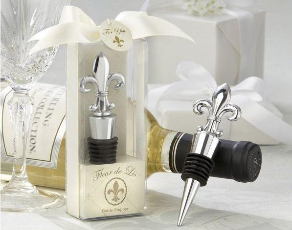 Dhl livraison gratuite gros 100pcs/lot-- mariage, favorables./fleur de lis élégante bouchon de bouteille chrome, personnalisé logo accepter