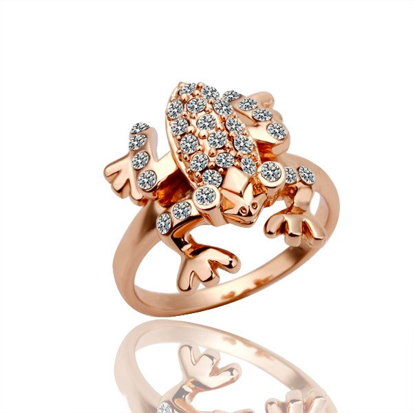 18KGP R009 Frog Ring 18K Gold Plated Ring Health Jewelry Nickel Free Plating White Gold Austrian Crystal Element(China (Mainland))