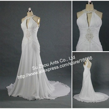 2013 Free shipping Actual Real Picture Sexy Beach Chiffon Wedding Dresses MG696