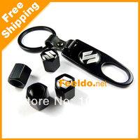 Black Car tire wheel valve steam caps 4pcs with keychain for Suzuki #1850