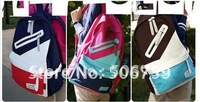 package   free shipping  New Korean men and women shoulder bag canvas bag backpack bag bags  different color choose  1set