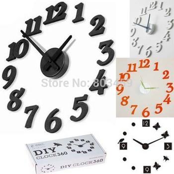 Free Shipping+Drop Shipping  Stylish Simple DIY 3D Wall Clock DIY clock Funny Clock Black White And Yellow Can Choose