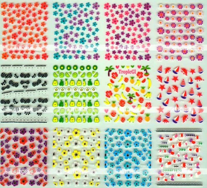240x Coloured 3D Nail Sticker Free Shipping Mixed styles nail art stickers(China (Mainland))