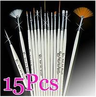 Drop Shipping 15 Pcs Professinal Nail Art Brush Set Design Painting Pen,Perfect For Natural/False And 3D Beauty