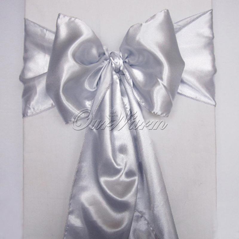 50 pieces new dark silver 6 x108 satin chair cover sash decoration
