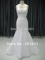 Free Shipping! High quality V-neck Applique Bows Organza Wedding Dresses JK09912