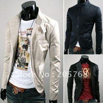 Free Shipping Men's Jackets Nearly TieBian color buttons LiLing three color suit coat coat. Men convenient Size:M-L-XL