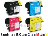 12 pcs New Compatible ink cartridge for Brother Printer DCP-145C/165C/185C MFC-250C/290C LC67/LC61/LC1100/LC980/LC990
