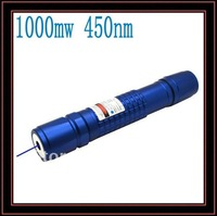 High Power Blue Laser 1000mw 450nm 800m Adjustable Focus Blue Laser Pointer Torch Waterproof (Blue) Free shipping