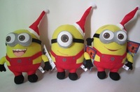 Christmas  Plush Toys Despicable Me 3D Eyes Minions 9'' Dolls Stuffed Animals Freeshipping Wholesale 12Pcs/lot