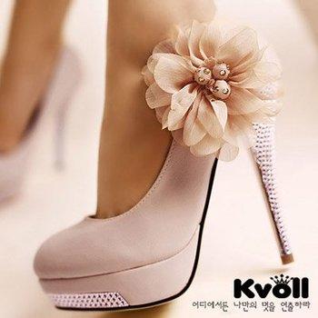 New Kvoll PU bright flower sexy high heels shoes for women diamond heels round head platform pump shoes eur size 34-42 D5614