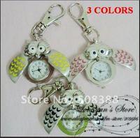 {Christmas gift}Free shipping 10pcs/lot Owl 3 Colors key ring pendant pocket quartz watch gift watch