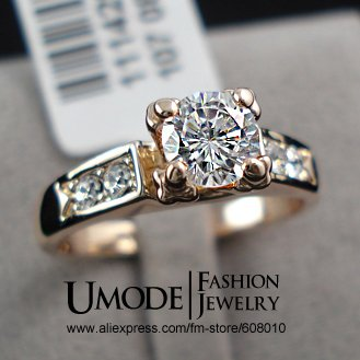 Top Selling High Quality 18K Rose Gold Plated Fashion CZ Diamond Wedding Rings (Umode JR0006A)